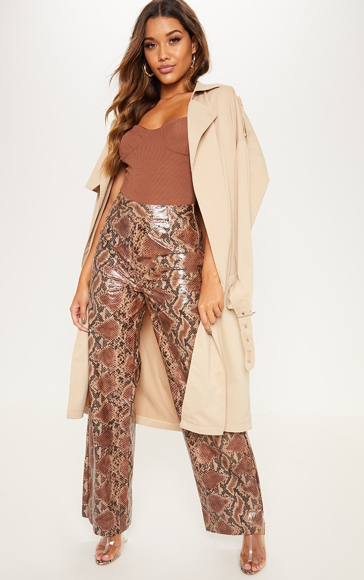 Tan Faux Leather Snakeskin Wide Leg Trouser 1