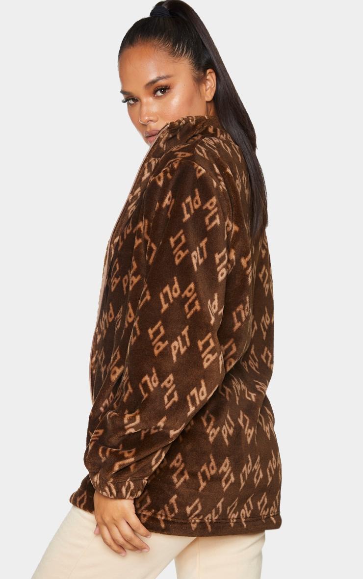PRETTYLITTLETHING Brown Faux Fur Fleece Jacket 2
