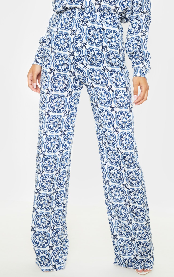 White Wide Leg Trouser Floral Pants 5