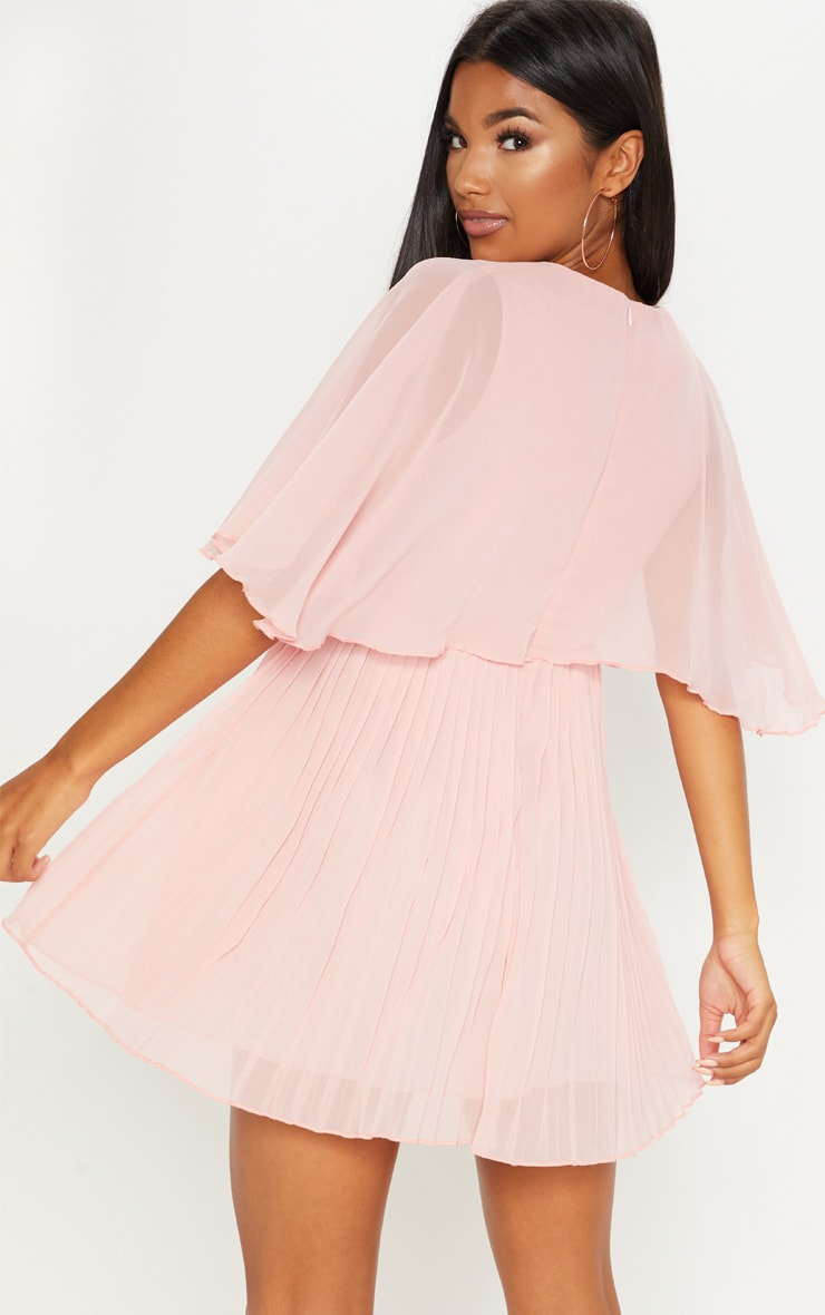Dusty Pink Cape Pleated Detail Skater Dress 2