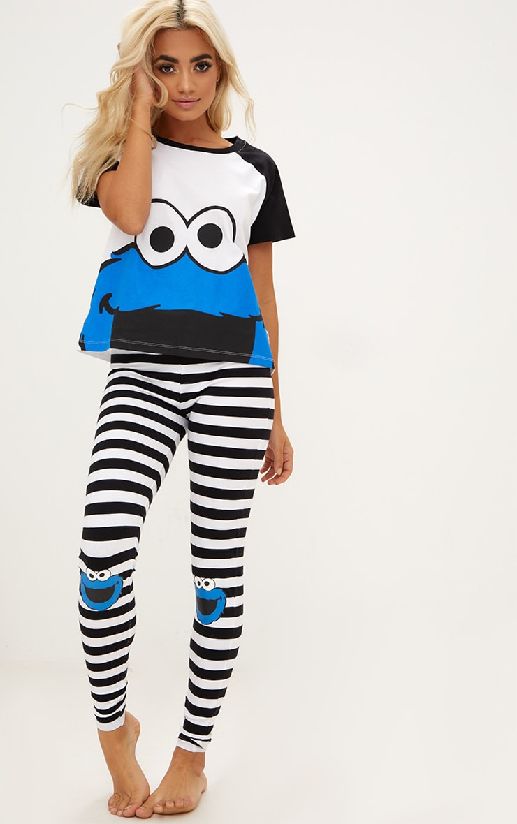 White Cookie Monster Legging PJ Set 1