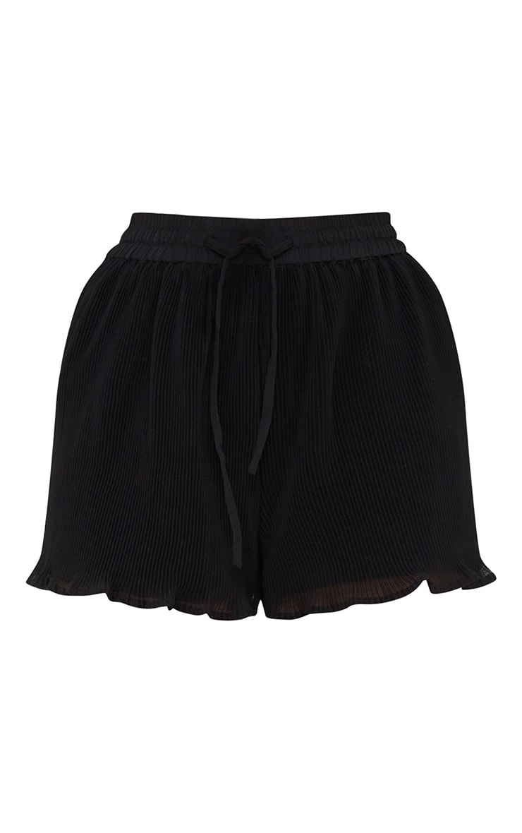 Black Drawstring Plisse Floaty Shorts 6