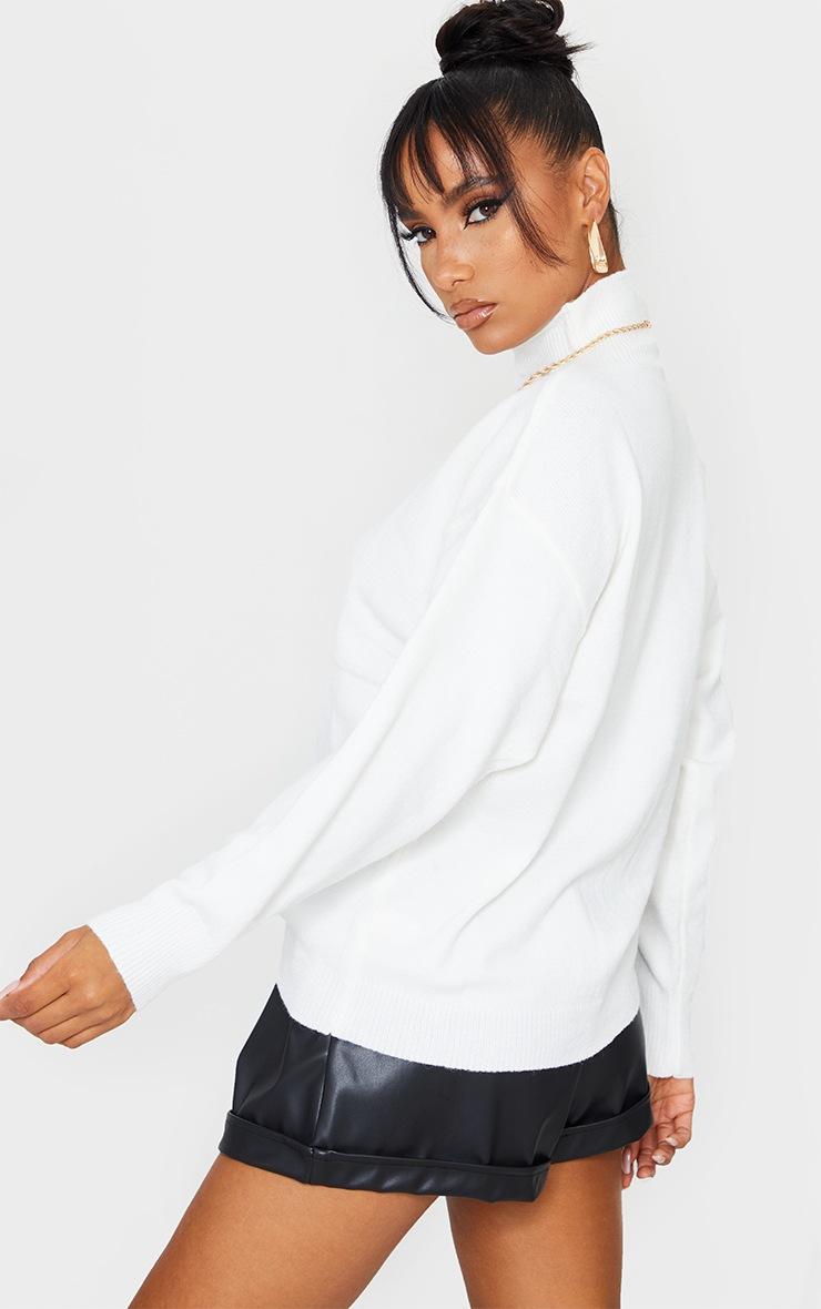 Cream Soft Knit Funnel Neck Jumper 2