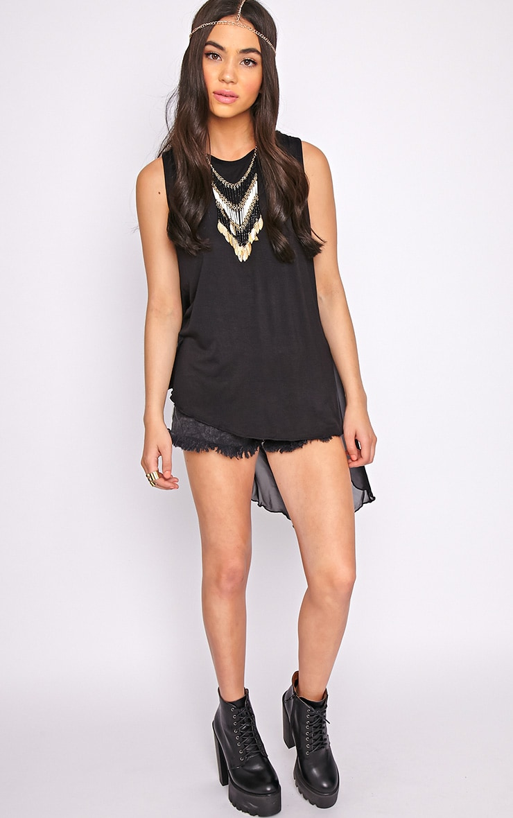 Malikah Black Dip Hem Top With Sheer Back 4
