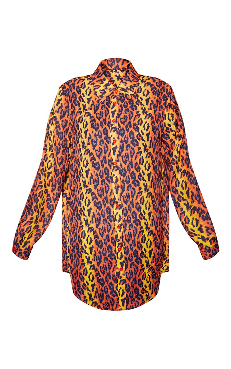 Orange Leopard Print Beach Shirt 3