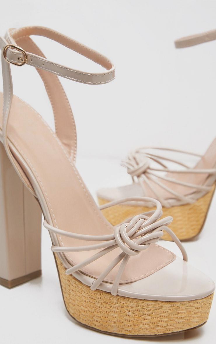 Sandales à plateforme nude en raphia 4