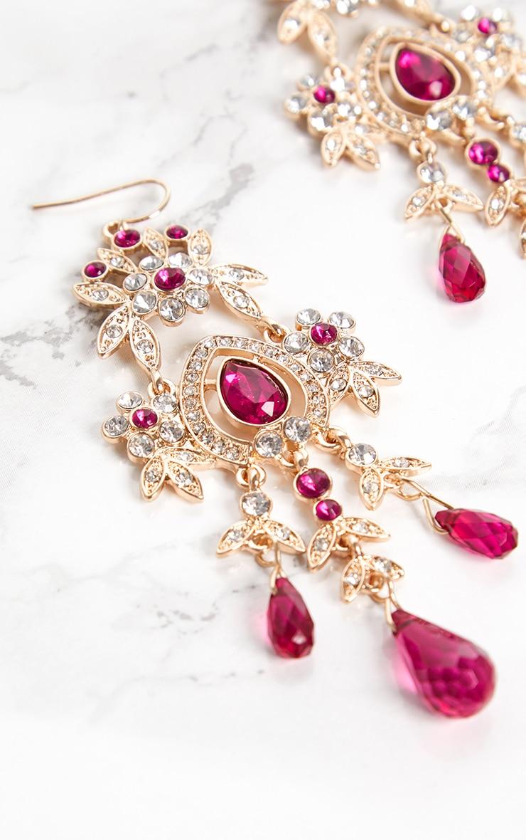 Fuchsia Diamante Jewel Drop Earrings 4