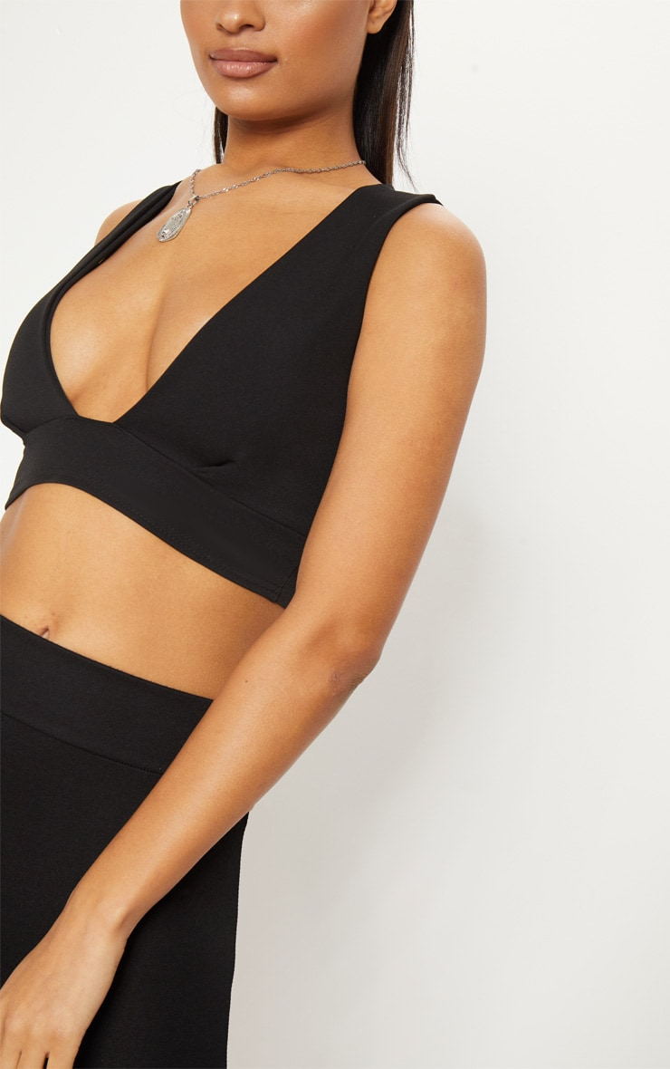 Black Scuba Plunge Crop Top  5