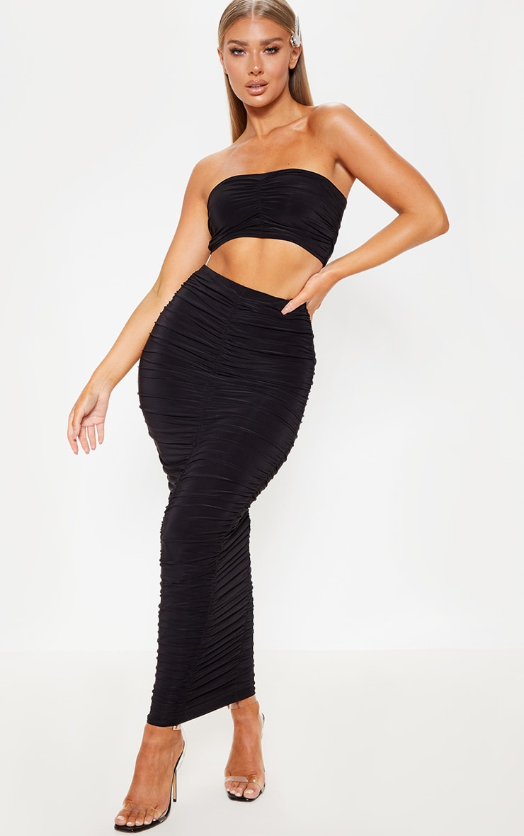 Black Slinky Ruched Detail Bandeau Crop Top 4