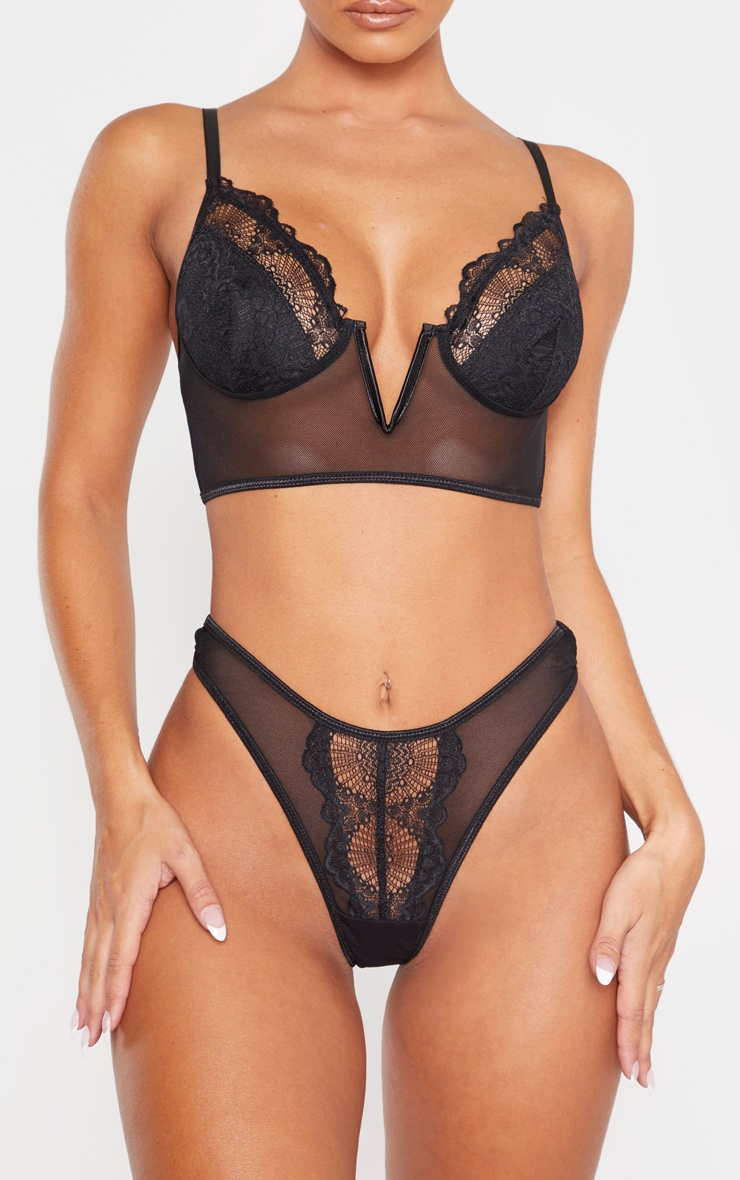 Black Lace And Mesh Thong 1