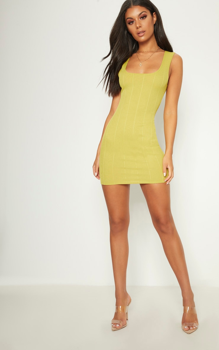 Lime Bandage Square Neck Bodycon Dress 4