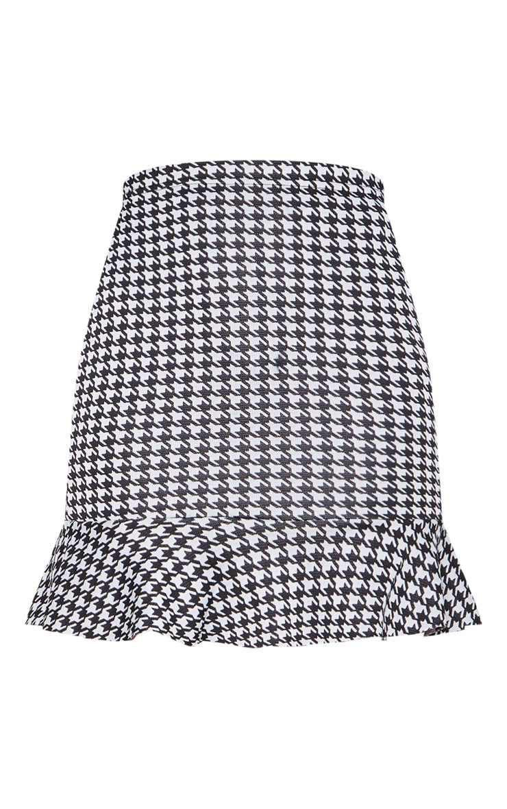 Black Dogtooth Jacquard Flippy Hem Mini Skirt 3