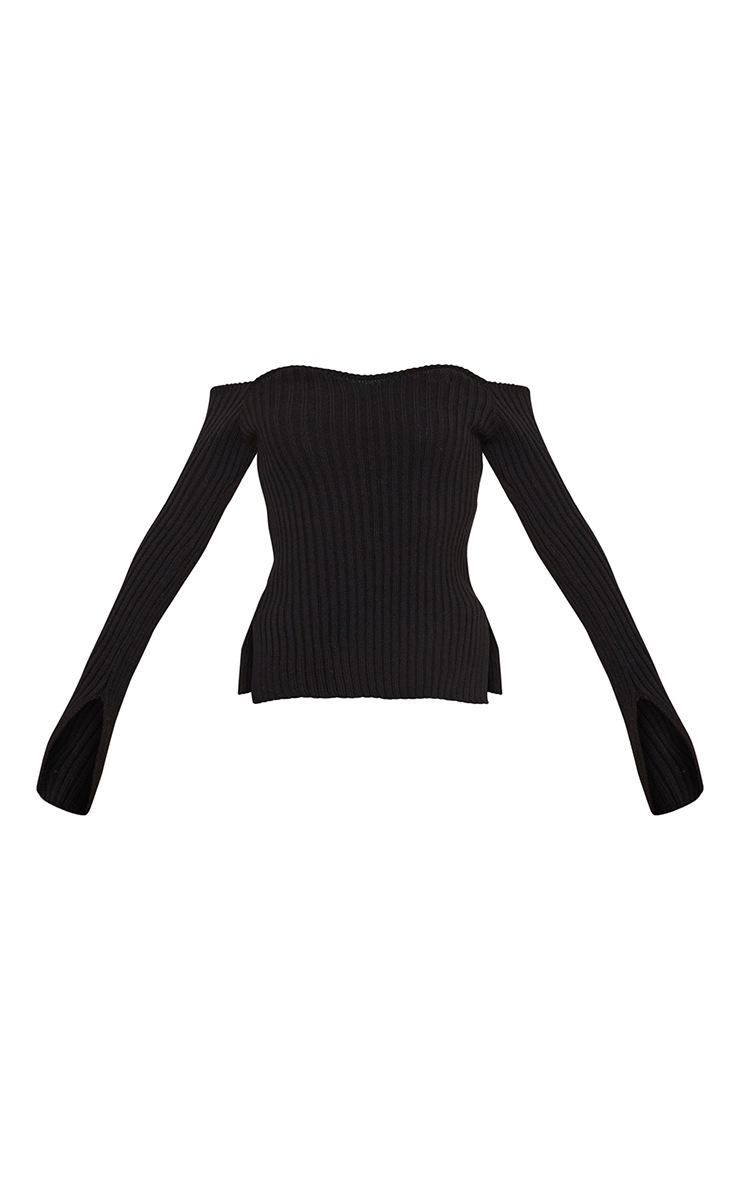Black Off Shoulder Sweetheart Neckline Knitted Jumper 5