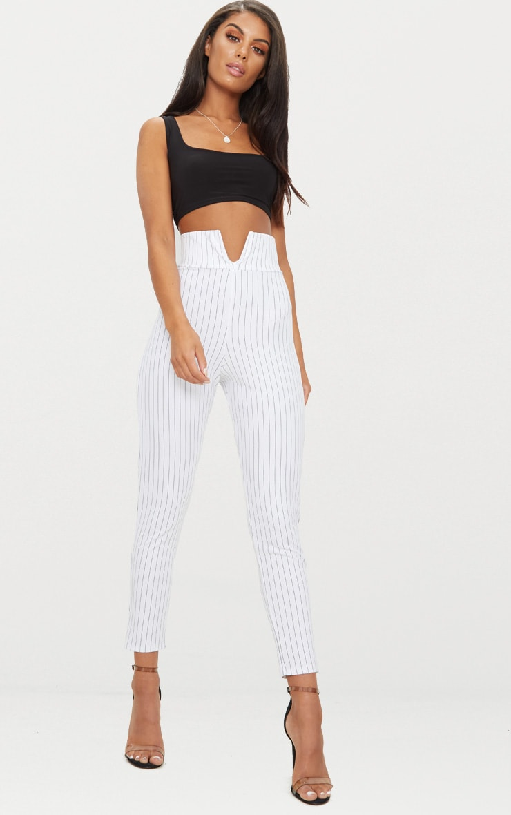 White Pinstripe Cut Out Waist Skinny Trousers  1