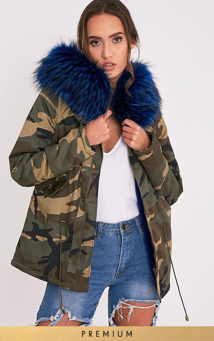 Klaudiya Premium parka camouflage doublure en fausse fourrure bleue 1