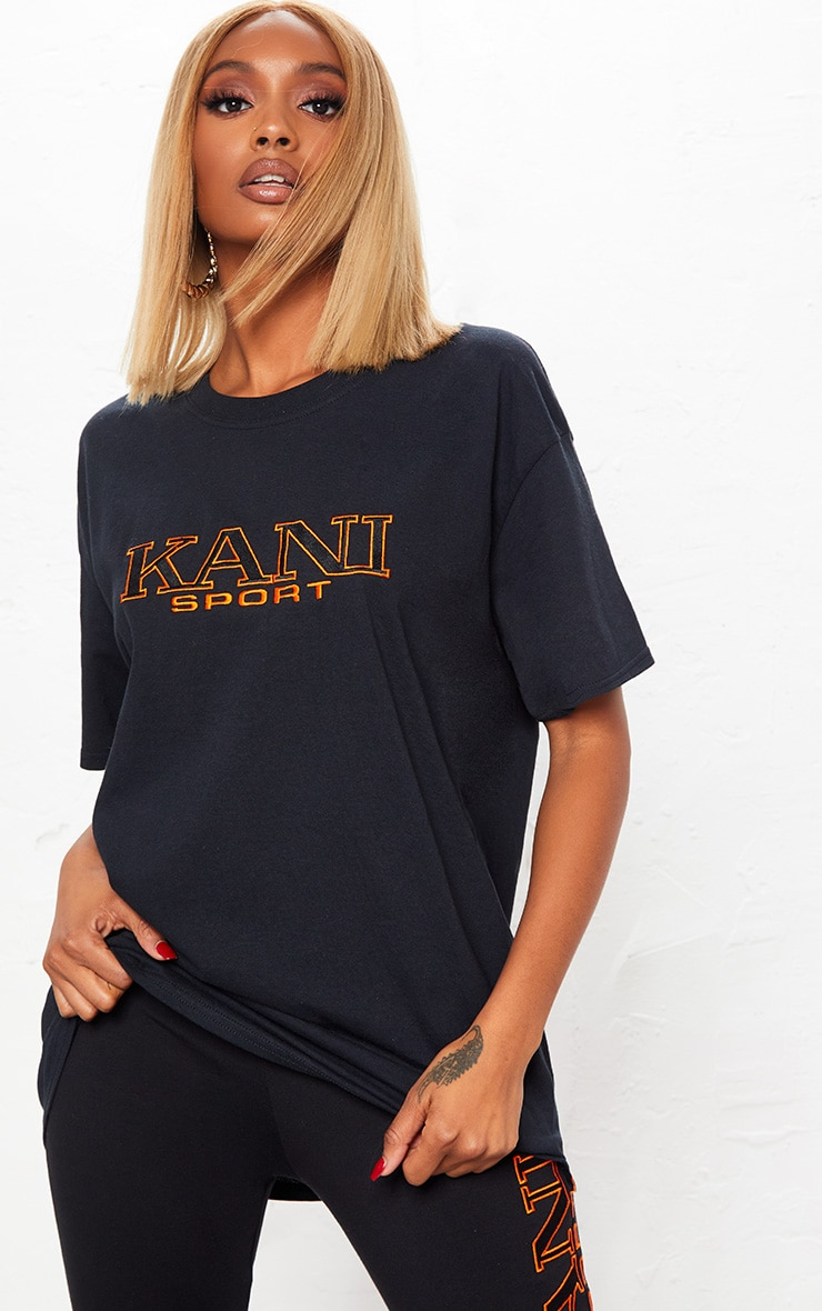 KARL KANI Black Embroidered T Shirt  3