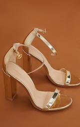 May Gold Block Heeled Sandal 4
