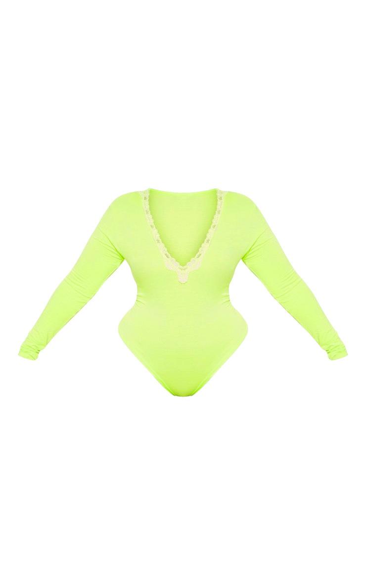 Plus Neon Lime Lace Trim Plunge Long Sleeve Bodysuit  3