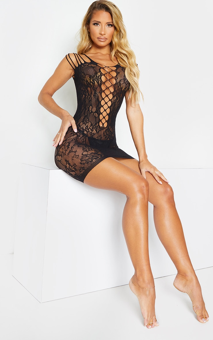 Black Strappy All Over Lace Body Stocking 3