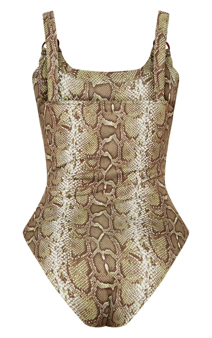 Brown Snake Print Ring Detail Bodysuit 4