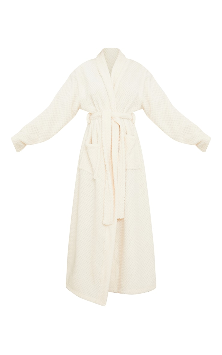 Cream Textured Fluffy Longline Dressing Gown 5