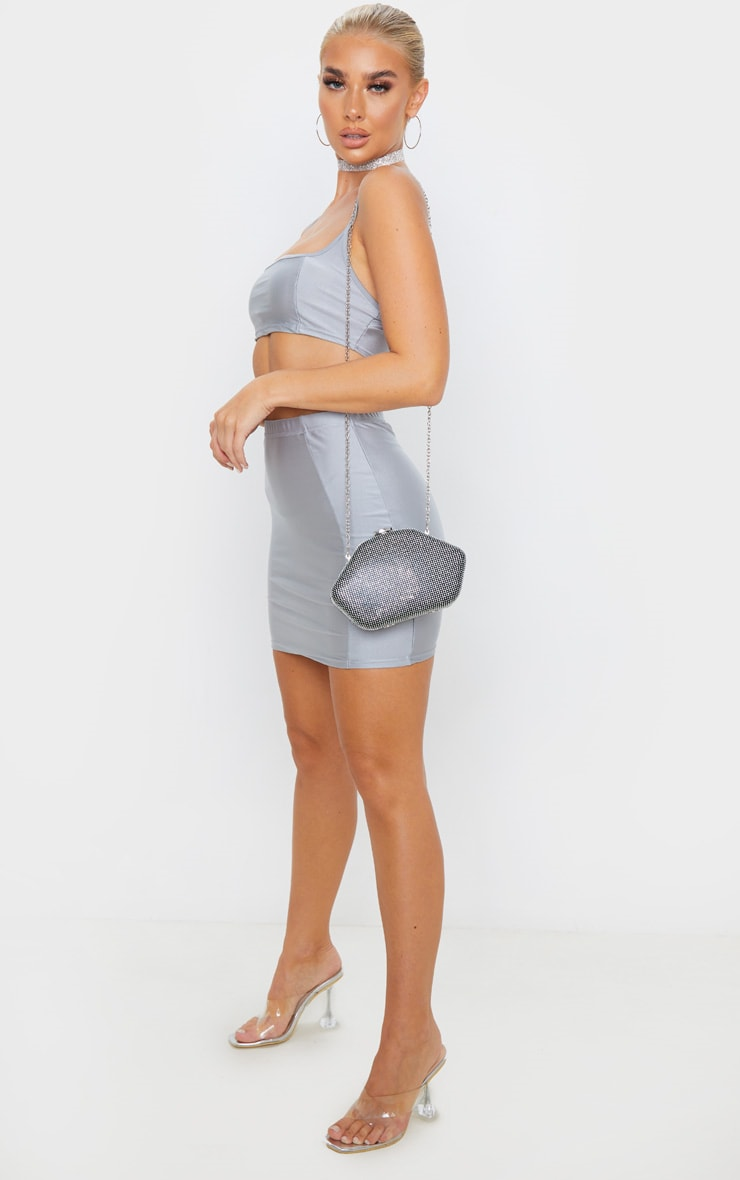 Silver Disco Seam Front Mini Skirt 5