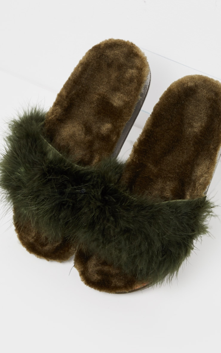 Forest Green Feather Slides 3