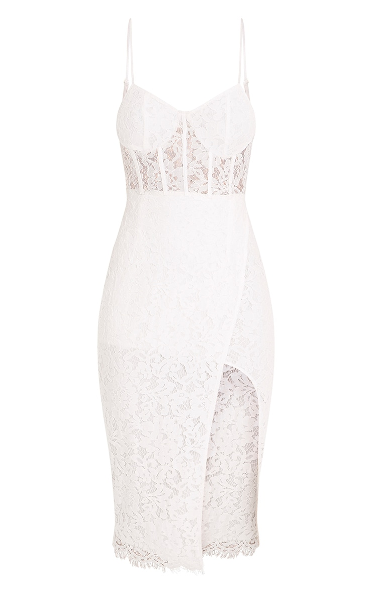 Brielle White Strappy Lace Wrap Over Midi Dress  3
