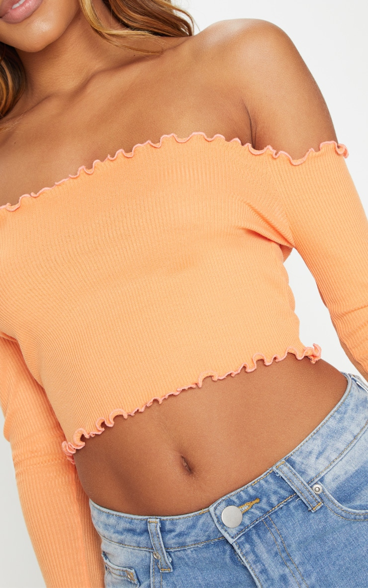 Tangerine Frill Edge Crop Top  5