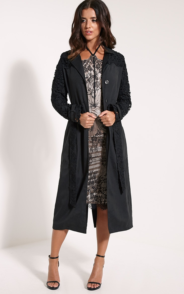 Karolina Black Crochet Lace Detail Trench Coat 1