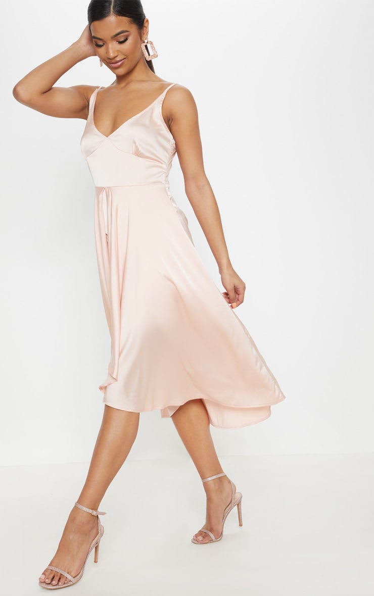 Blush Satin Strappy Layered Skater Midi Dress 1
