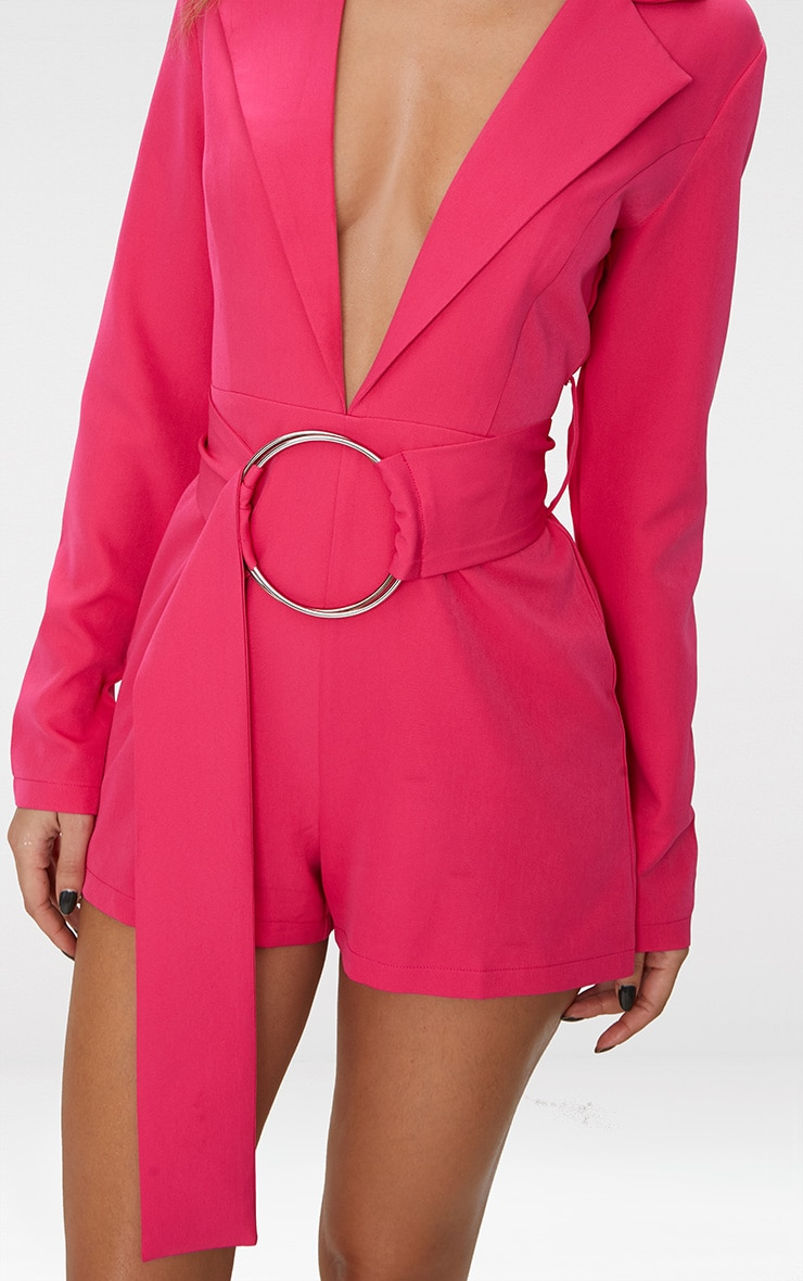 Fuchsia Tux Long Sleeve Playsuit 5