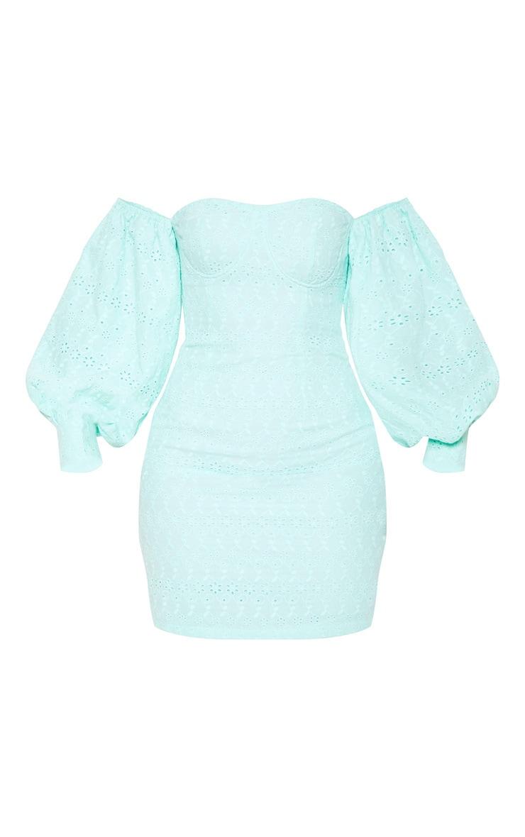 Mint Broderie Anglaise Bardot Balloon Sleeve Bodycon Dress 3