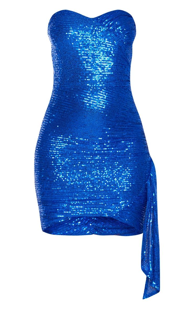 Cobalt Sequin Bandeau Drape Detail Bodycon Dress 3