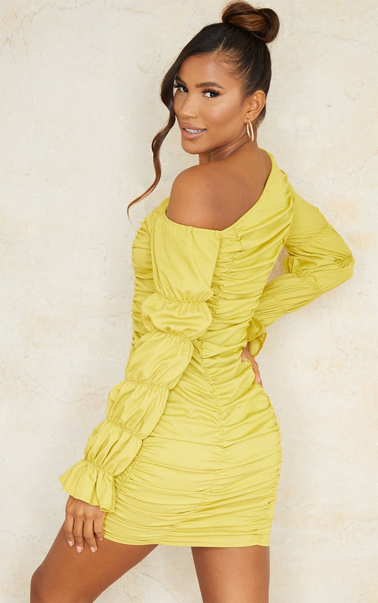 Olive Gathered Tiered One Shoulder Bodycon Dress 2