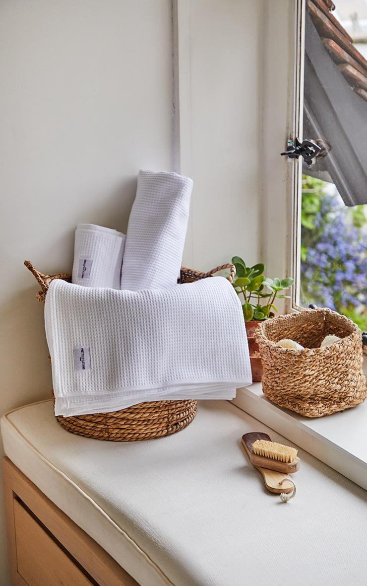 White Waffle Cotton Large Bath Towel 1
