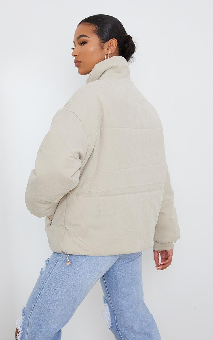 Stone Oversized Peach Skin Cuff Puffer Jacket 2