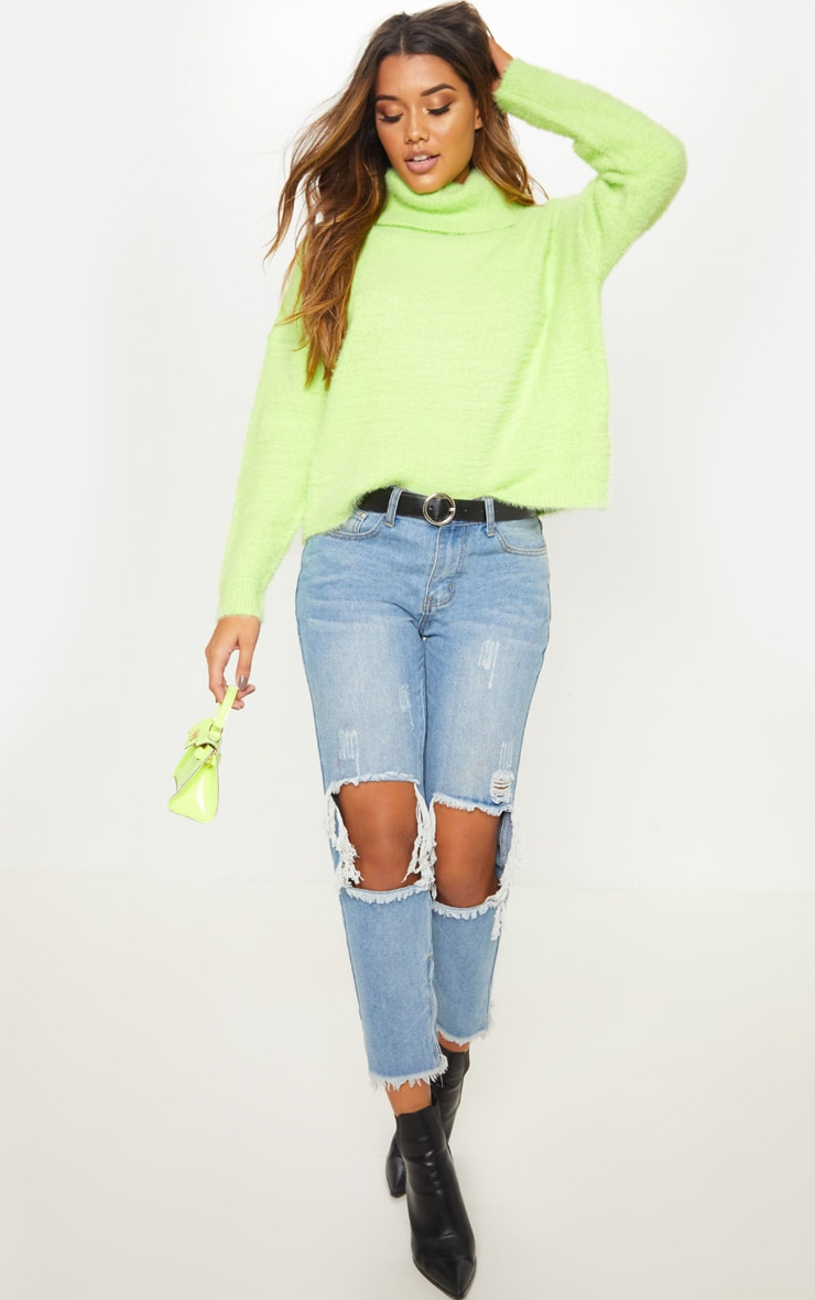 Neon Lime Roll Neck Fluffy Knit Sweater  4