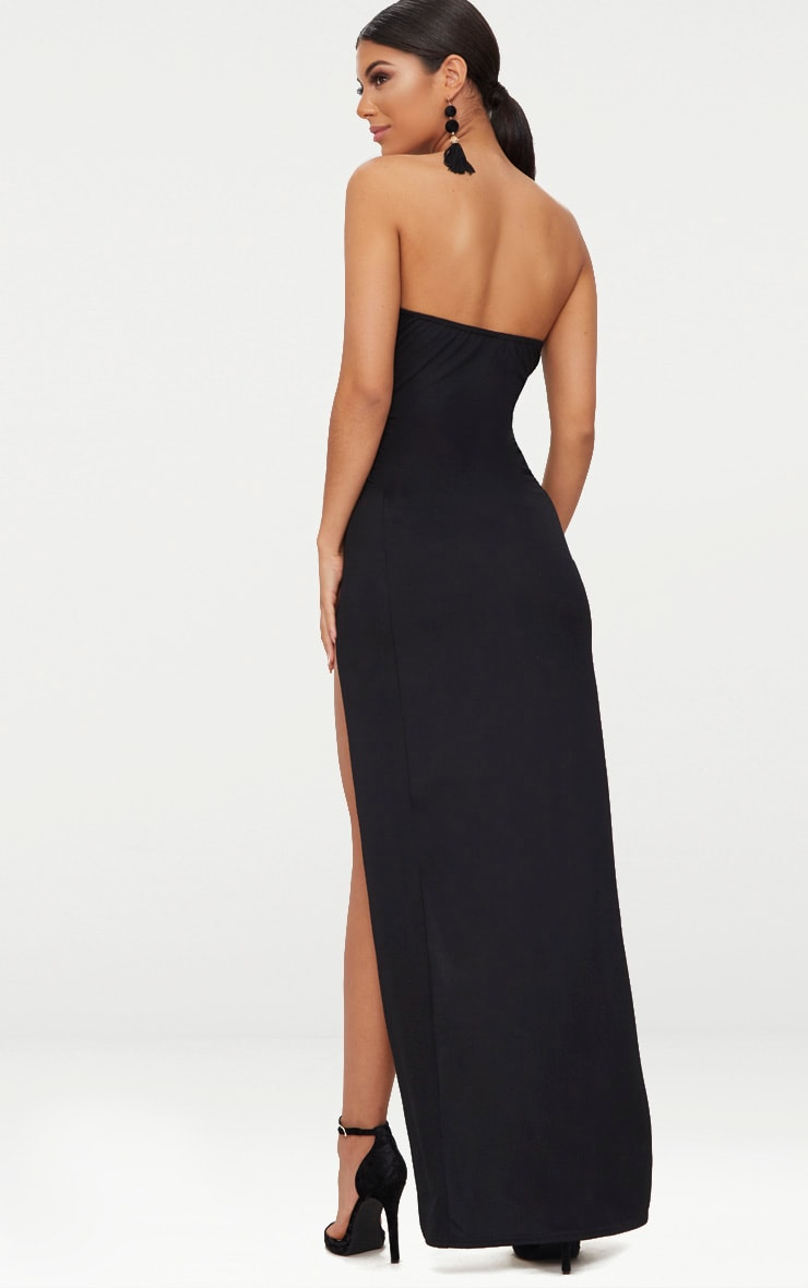 Black Bandeau V Bar Wrap Detail Maxi Dress 2