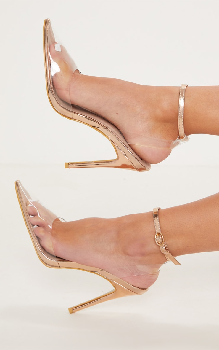 Rose Gold Clear Ankle Strap Court Shoes 2