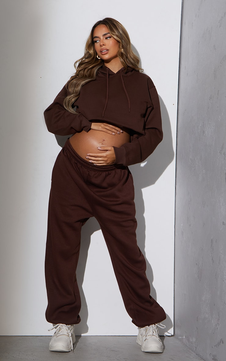 RENEW Maternity Chocolate Ultimate High Rise Joggers 1