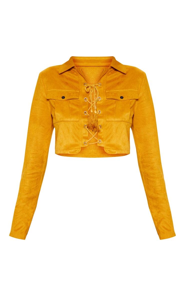 Crop top marron clair en suédine à laçage et poches  3