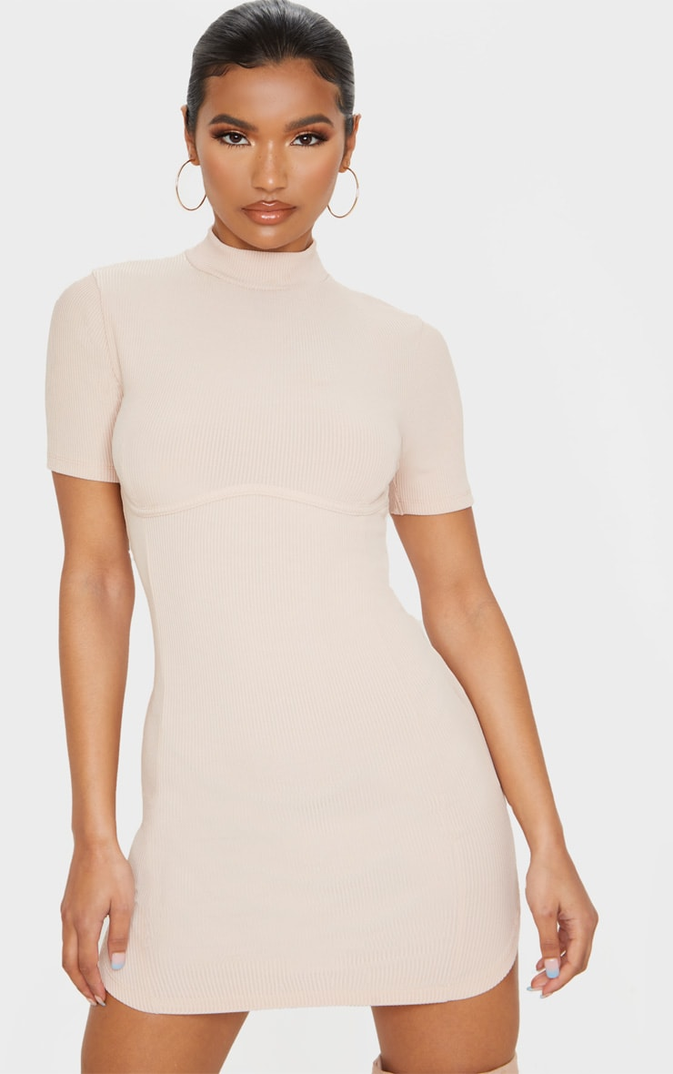 Nude High Neck Under Bust Detail Bodycon Dress