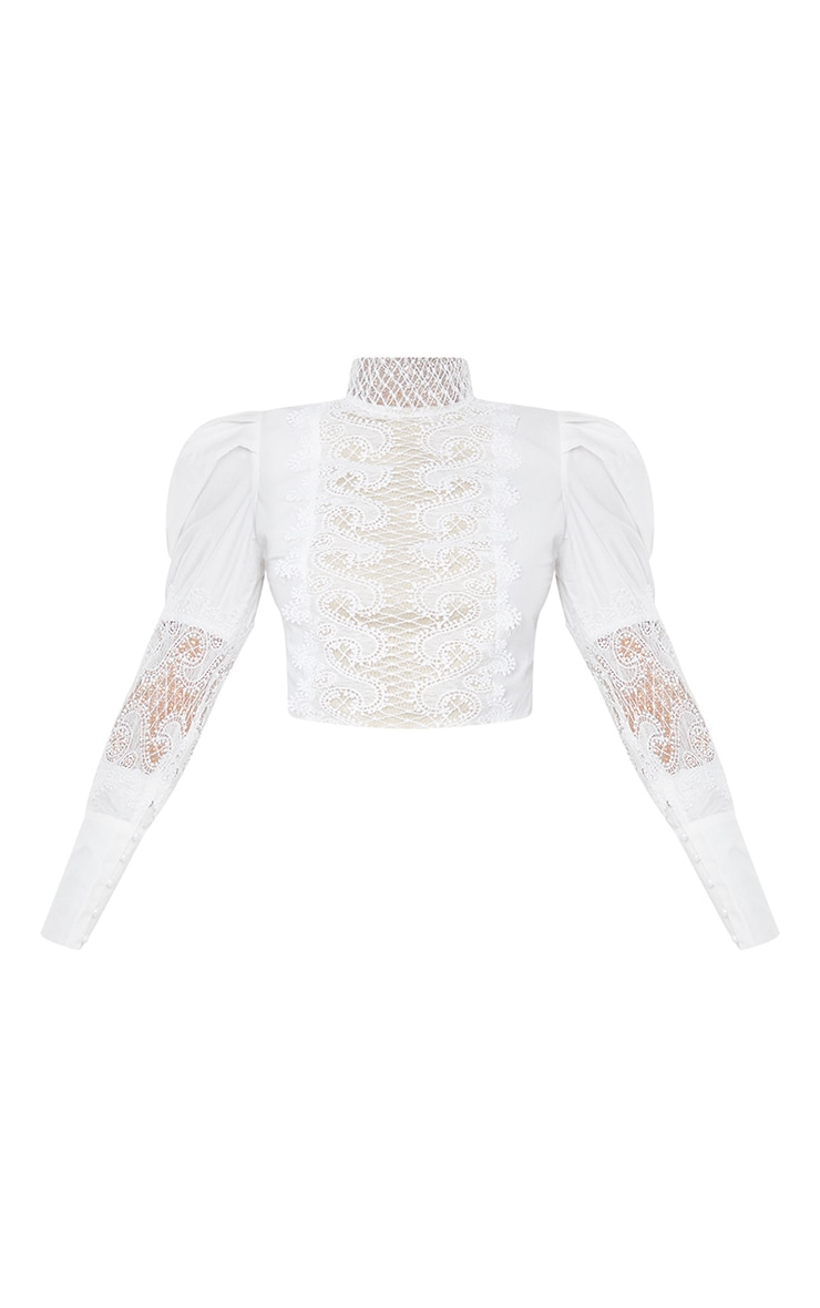 White Woven Lace Panel Puff Sleeve Cropped Blouse 5
