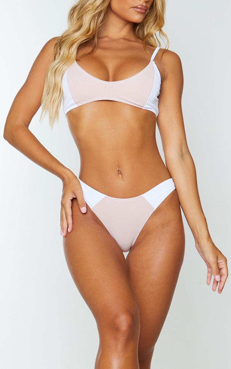 White Ribbed Two Tone Scoop Neck Bikini Top 1