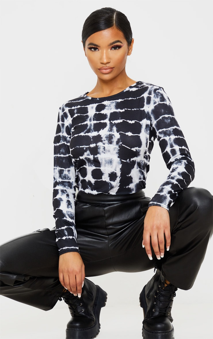 Black Printed Crew Neck Long Sleeve T Shirt 1