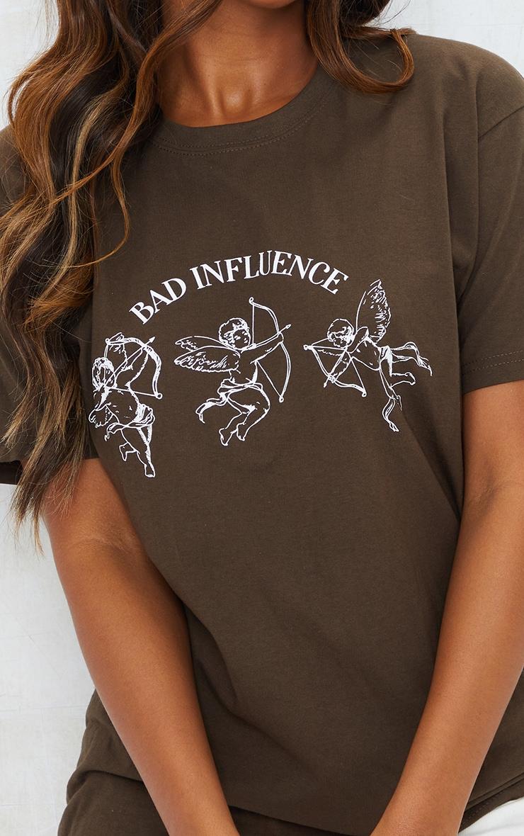 Chocolate Bad Influence Printed T Shirt 4