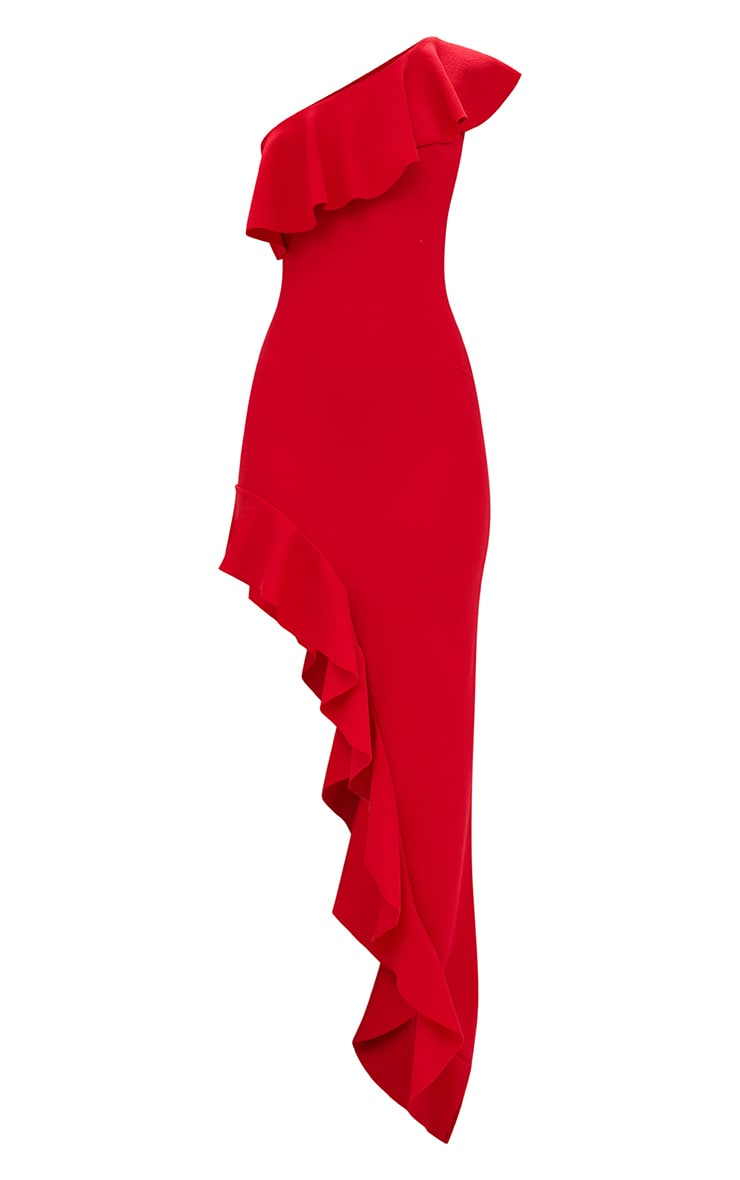 Red One Shoulder Ruffle Detail Asymmetric Maxi Dress 3