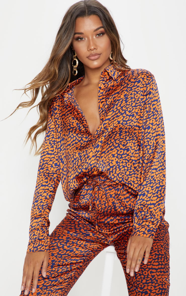 Orange Contrast Leopard Print Oversized Shirt 1