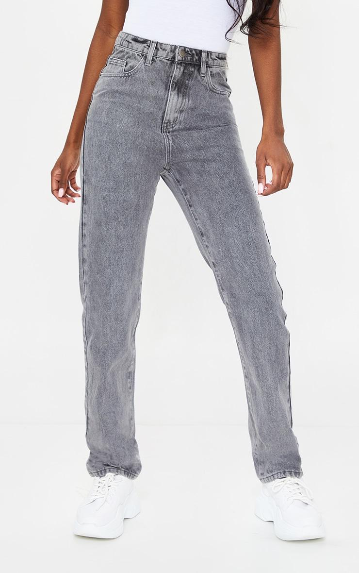 PRETTYLITTLETHING Tall Grey Acid Wash Straight Leg Jeans 2